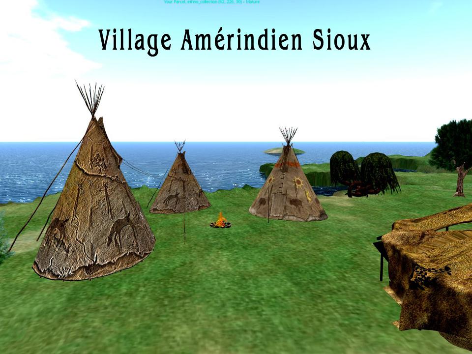 Le village sioux : les tipis et la sun lodge