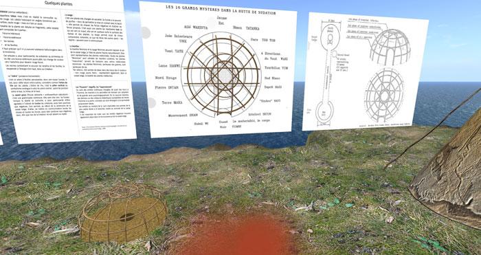 Vue sur les panneaux pédagogiques : symbolique de la Hutte de Sudation et mythe d'origine